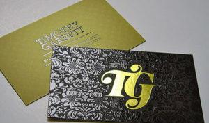 Изготовление визиток с тиснением золотом